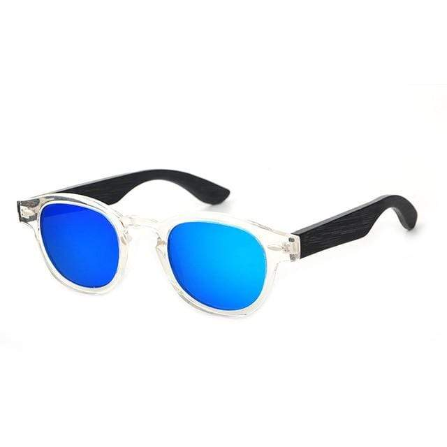 Women's Bamboo Sunglasses White with Blue Lens Trendy Joys