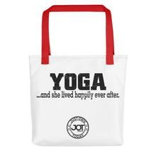 Load image into Gallery viewer, Yoga..and she lived happily ever after. Tote bag