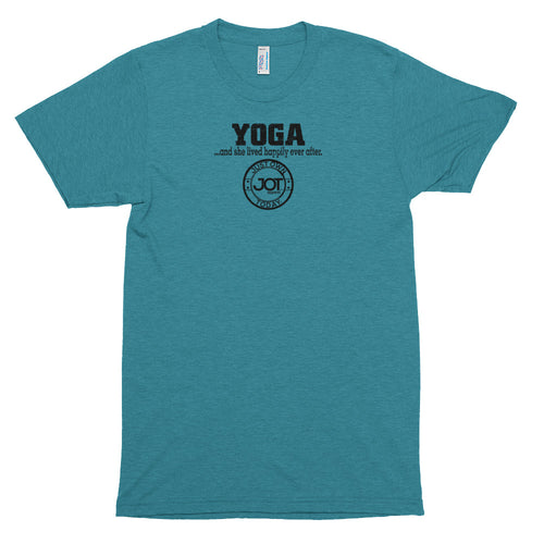 Yoga... and she lived happily ever after Short sleeve soft t-shirt