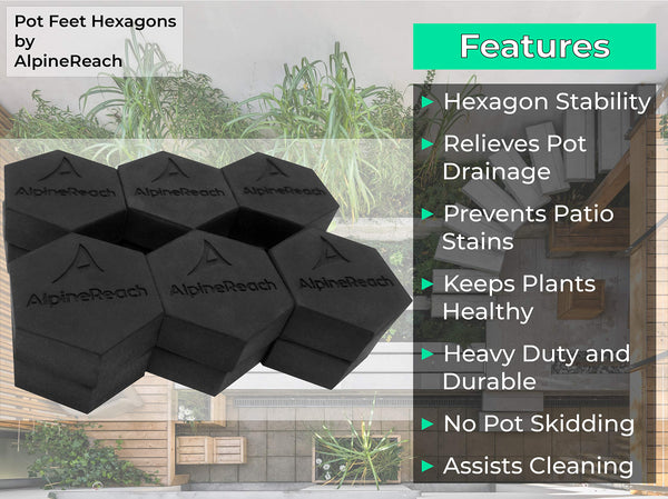 AlpineReach 12 Pack Pot Feet Hexagons & Adhesive Pads - AlpineReach