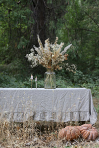 French Cottage Natural Linen Ruffled Tablecloth