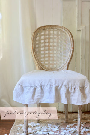 3 side Flax Ruffled Linen Dining Chair Slipcover- Natural