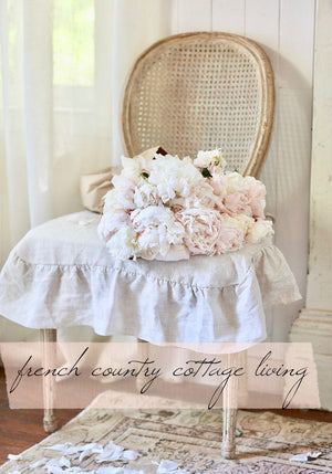4 side Flax Ruffled Linen Dining Chair Slipcover- Natural