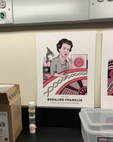 Rosalind Franklin poster in a lab