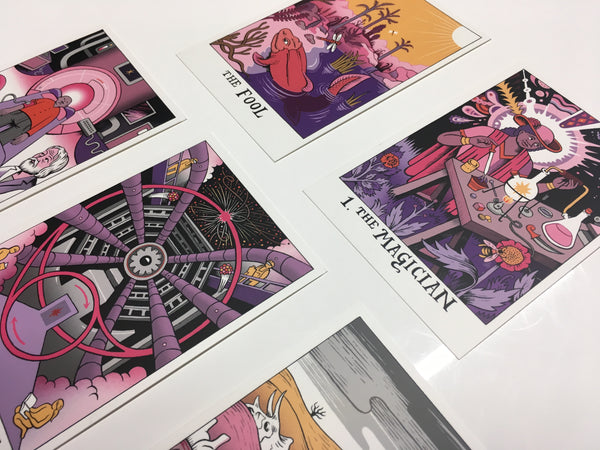 5 science tarot prints including the Fool, Magician, Hermit, Wheel of Fortune, and Death
