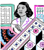 multicolored cartoon of Marjorie Lee Browne