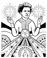 coloring book page of marie curie