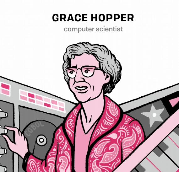 Grace Hopper illustration, with her name and computer science