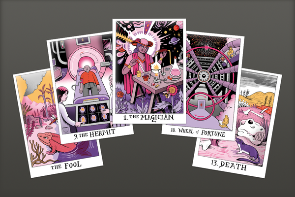 Image of 5 science tarot post card pack including the Fool, Hermit, Magician, Wheel of Fortune, and Death
