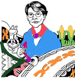 Digitally colored drawing of barbara mcclintock