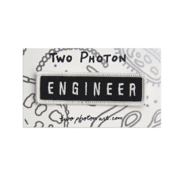 black engineer iron on patch