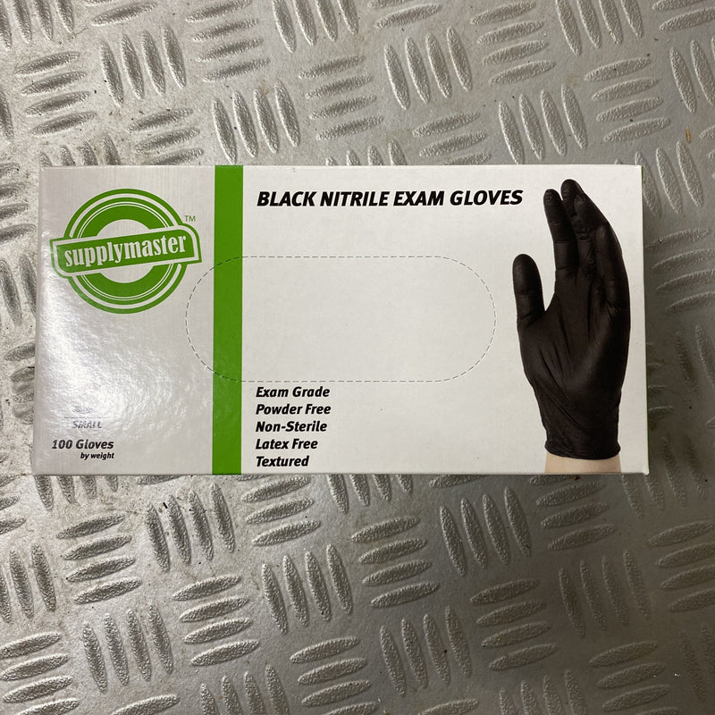 Black Nitrile Exam Gloves- Box 100