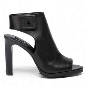 DKNY 'Brin' Open Toe Heel Sandals Black Leather Sz 8-infinitote.com