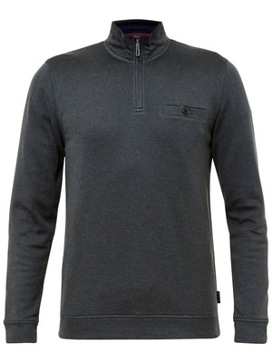 Ted Baker Men's Valerio Funnel Neck Sweater Charcoal Gray Sz M (3)-infinitote.com