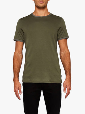 Ted Baker Men's FRYEGG Crew Neck Cotton T-shirt Olive Green Sz XL-infinitote.com