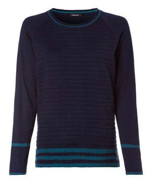 Olsen Women's Nordic Light Knit Sweater Navy Blue Sz 12 (M-L)-infinitote.com