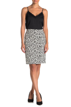 Philosophy Women's Ponte Jacquard Floral Pencil Skirt Black White 12-infinitote.com