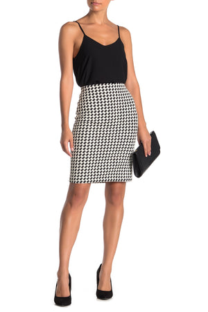 Philosophy Women's Ponte Jacquard Houndstooth Pencil Skirt Black White 12-infinitote.com