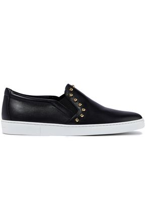 Ferragamo Women's Spargi Studded Leather Slip-on Sneakers Black Sz 6-infinitote.com