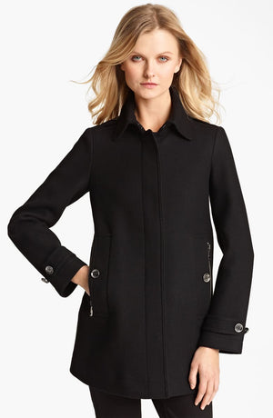 Burberry Brit 'Elmsby' 3/4 Length Women's Coat Black Sz 6-infinitote.com