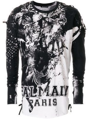 Balmain Men's Printed Logo Long Sleeve Shirt Black White Sz XL-infinitote.com