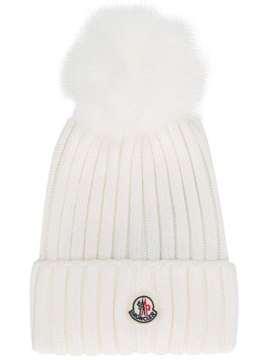 Moncler Knit Wool Fur Pompom Hat Beanie Ivory White-infinitote.com