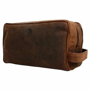 Rustic Town Johnny Handmade Genuine Leather Toiletry Bag Dopp Kit-infinitote.com