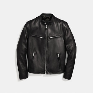 COACH Men's 'Racer Jacket' Black Lamb Leather Size S F33779-infinitote.com