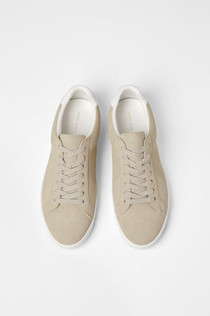ZARA Man Micro Perforated Fashion Sneakers Beige Sz 7-infinitote.com