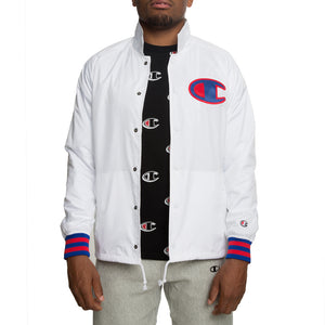 Champion V5089 Men's Satin Coaches Jacket Big C Logo White XXL-infinitote.com