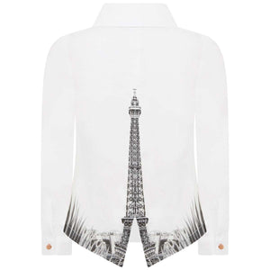 Junior Gaultier Girls White Eiffel Tower Shirt Sz 10A-infinitote.com