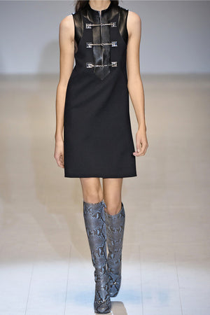 GUCCI Women's Horsebit and Leather Sleeveless Wool Dress Black Sz S $1,920-infinitote.com