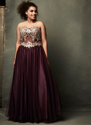 NWT Laura Plus Wine Purple Embroidered Mesh Tulle Gown Sz 18-infinitote.com