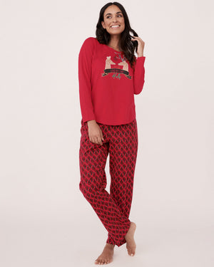 La Vie En Rose Flannel Long Sleeves PJ Set Reindeer Red Sz L-infinitote.com