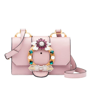 MIU MIU Lady Madras Leather Embellished Shoulder Purse Bag Handbag - Rosy Blush Pink-infinitote.com