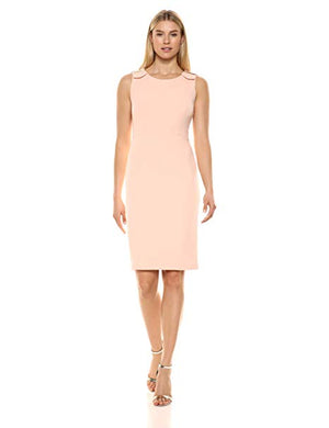 Calvin Klein Round Neck Sheath Dress Gold Buckles Light Pink 12-infinitote.com