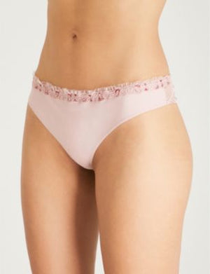 La Perla Elements Powder Pink Thong With Lurex Embroidery Sz M-infinitote.com