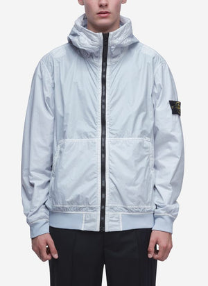 Stone Island Lamy Flock Shell Hooded Jacket In Ice Blue Men's Sz L-infinitote.com