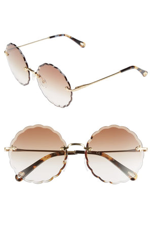 CHLOE Rosie Scalloped Rimless Sunglasses Gradient Lens-infinitote.com