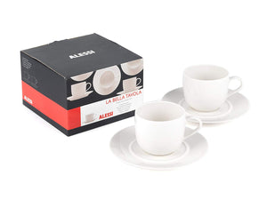 Alessi La Bella Tavola 'Ettore Sottsass' Set of 2 Cups and Saucers NEW-infinitote.com