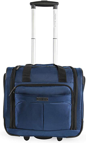 Perry Ellis Excess 9-Pocket Underseat Rolling Tote Carry-on Bag Blue-infinitote.com