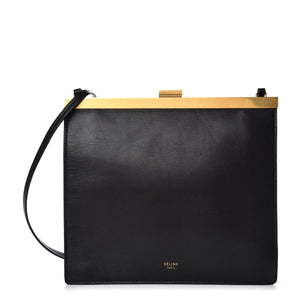 CELINE Smooth Calfskin Leather Mini Clasp Bag Black / Red Interior-infinitote.com