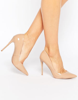 Aldo Stessy Nude Patent Pumps Heels Pointed Toe Sz 7.5
