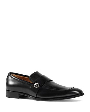 Gucci Men's Smooth Calfskin Leather Broadwick Loafers Shoes Black Sz 9-infinitote.com