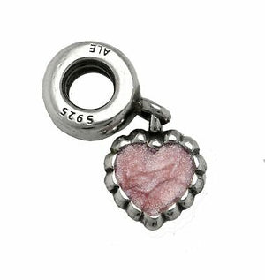 Authentic Pandora Forever Heart Dangle Charm w Pink Enamel 790471-infinitote.com