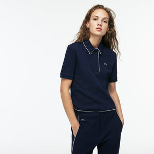 Lacoste Women's Piped Interlock Crepe Polo Shirt Navy Sz 42 XL-infinitote.com