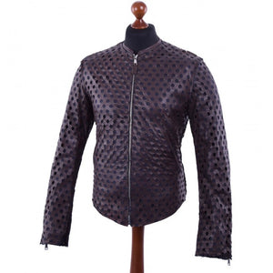 DOLCE & GABBANA Men's Perforated Leather Jacket Brown Sz 48 / M-infinitote.com