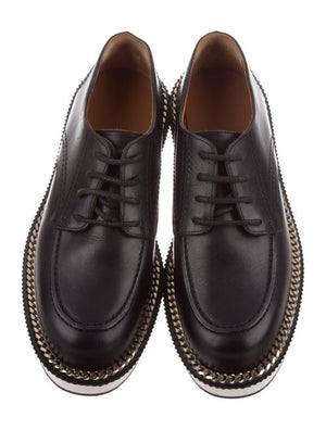 GIVENCHY Men's Rottweiler Chain-Trimmed Leather Derby Shoes Black 9-infinitote.com