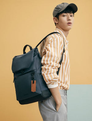 Beanpole Navy Blue Travel Flap Backpack-infinitote.com