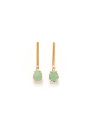 Lover's Tempo Grace Drop Earrings Mint Gold Plated Green Quartz-infinitote.com